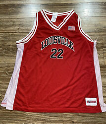 Vintage Louisville Cardinals American Flag 90s Red Mesh Basketball Jersey Size 2