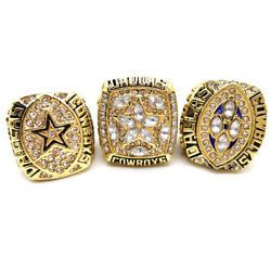 New Collection 3pcs Dallas Cowboys Emmitt Smith 22 Championship Ring All Size