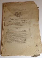 Antique 1792 First Acts And Laws Of Monmouth Maine Creation Fryeburg Academy