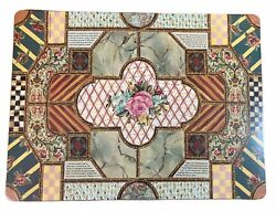 Mackenzie Childs Placemats Pimpernel England Set Of 4 Cabbage Rose Cottage Check