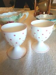 Early Shelley Fine Bone China England Egg Cups Matched Pair Pink Polka Dots Mint
