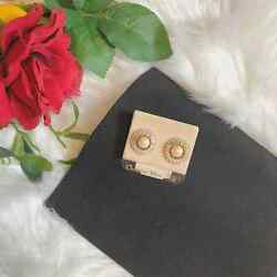 Christian Dior Authentic Vintage 1970s 14k Gold And Pearl Earrings - Nwt
