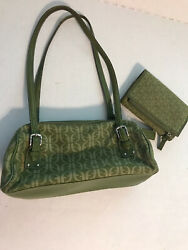 Fossil Green Leaf Logo Canvas Small Bag Purse Handbag with Matching Wallet $22.99