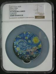 Palau 20 Dollars 2019 Silver Coin Micropuzzle Treasures Starry Night Ngc Pf70