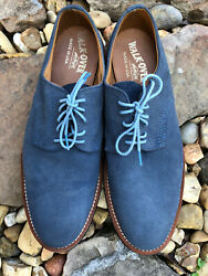 WALK OVER Men#x27;s Blue Suede Lace Up Shoes Vibram Sole Size 12 Made In USA $58.89