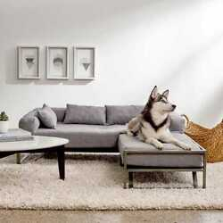 New Dog Pet Sectional Sofa Lounge 100 Polyester Metal Frame 4 Pillows Included