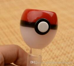 14mm Collectible Pokeball Pokemon Glass Male Bowl Pipe For Tobacco Red White