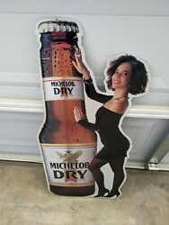 Rare 1989 Michelob Dry Girl And Bottle Tin Sign