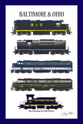 Baltimore And Ohio Locomotives 11x17 Poster 12x18 Mat Andy Fletcher Signed
