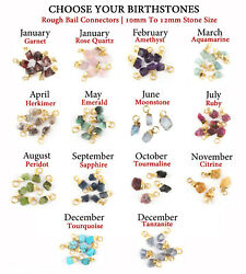 10-12mm Birthstone Genuine Rough Stone Gold Plated Raw Charms Necklace Pendants