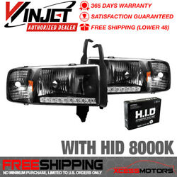 Fits Winjet 94-02 Ram 1500 2500 3500 Led Drl Headlights + 8k Hid - Black Clear