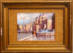 A Walk In Rome City view Canvas Duplicated On Carton Oil.e. Martimo Marked