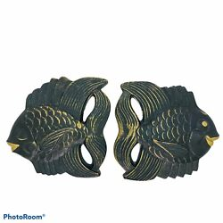 Vintage Millers Studio Chalkware Black and Gold Fish Pair Wall Plaques 1954
