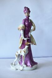 Antique German Bisque Porcelain Figurine Lady With Dog Whippet Greyhound Rare'k1