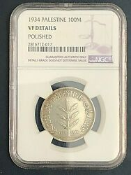Palestine 100 Mils 1934 Vf Details Polished Rated Coin Ngc Very Rare