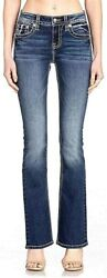 Miss Me Women's Mid-rise Boot Cut Jeans With Silver Lace Design...
