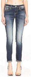 Miss Me Women's Mid-rise Skinny Jeans With Feathered Angel Wing...