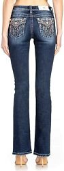 Miss Me Women's Mid-rise Boot Cut Jeans With Dreamcatcher And Feather...