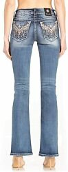 Miss Me Women's Mid-rise Boot Cut Jeans With Pink Floral Fringe...