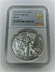 2020 W 1 Ngc Ms69 Burnished Silver American Eagle Silver Star Label ⭐9003⭐ V2⭐