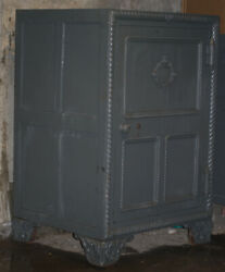 Antique Safe Bank - Fire Proof Patented Gray Wood Finish Vintage