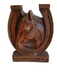 Rare Vintage Ornawood Horsehead And Horse Shoe Bookend Mcm
