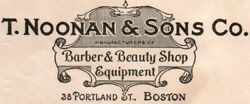 Vintage Company Corner Card T. Noonan And Sons Co. Barber And Beauty Shop Equipment