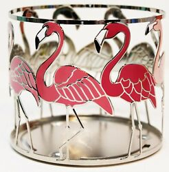 Bath amp; Body Works Candle Holder Large 3 Wick Sleeve Pink Flamingo Metal Silver
