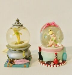 2 Vintage Disney Tinkerbell Mini Miniature Snow Globes With Tags. Retired - 3