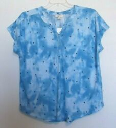 Style And Co Pullover Knit Top, Blue Tie Dye Print,short Sleeve Size 1x,2x,3x Nwt