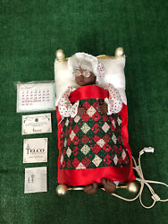 Sleeping Mrs. Santa African American Brass Bed, Extremely Rare