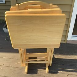 5 Piece Tray Table Set Wooden Tv Card Game Laptop Snack