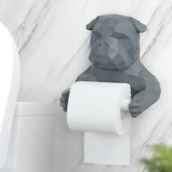 Toilet Paper Holder Bulldog Double Layer Figurine Home Resin Crafts Decorations