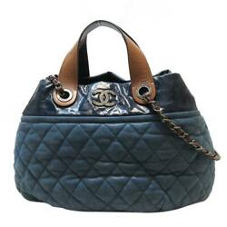 Blue In The Mix Tote Shoulder Bag Quilted Iridescent Lambskin Leather