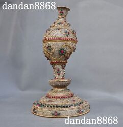 6old Tibetan Temple Silver Filigree Inlay Gem Conch Trumpet Horn Statue
