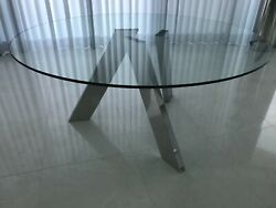 63 Round Crystal Top Dining Table With Polished Stainless Steel Base - Mint