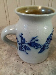 Salmon Falls Nh Salt-glazed Stoneware Mug W/blue Berry Vine