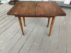 Antique Victorian Doll Dining Room Extending Table W/2 Leaves, Oak, C. 1900