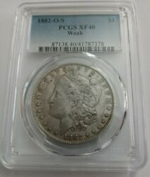1882-o Over S Morgan Dollar Pcgs Graded Xf40 Great Looking Coin