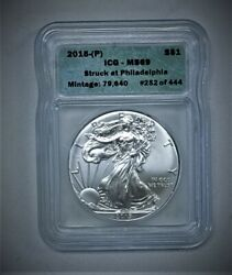 2015-p Silver American Eagle Icg Ms69 Struck At Philly 1 Of 444 Random⭐252 V2⭐