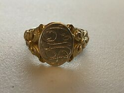 Late 1800s/early 1900s Beautiful Ornate 10k Solid Gold Signet Ring Otsby Barton