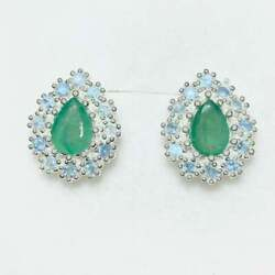 Natural Pear Emeralds 925 Silver 9ct 14k 18k Yellow White Gold Stud Earrings