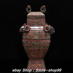18 Old Zhan Dynasty Bronze Ware Cinnabar Square Zun With Four Sheep Bottle Vase