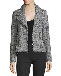 Nwt 195 Open-front Frayed Trim Tweed Jacket