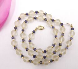 Vintage 14k Gold Clasp With Frosted Rock Crystal Quartz Beads And Iolite Beads Nec