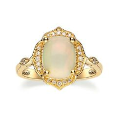 Gin And Grace 14k Yellow Gold Natural Ethiopian Opal And Diamond Ring.