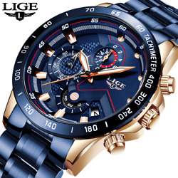 Lige 2020 New Fashion Mens Watches With Stainless Steel Top Brand Luxury Sports