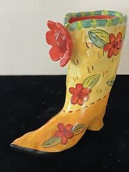 Whimsical Mary Rose Young Orange Floral Cowboy Boot Little Vase Quite Contrary