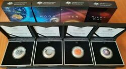 Earth And Beyond Complete Set - Earth Moon Sun And Milky Way Silver Domed Coins