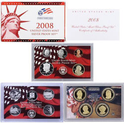2008 Us Mint Silver Proof Set 90 State Quarters Kennedy - Ogp 14 Coins